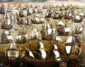 August 1588 Battle between English and Spanish ships (The Great Armada)