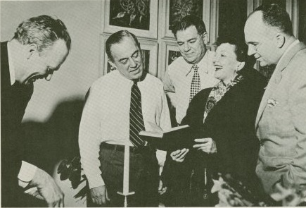 Mary Martin, Josh Logan, Richard Rodgers, Oscar Hammerstein, James Michener in rehearsal of South Pacific